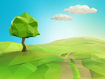 One tree on a grass field illustration Stock Photography