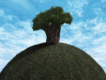 One Tree Hill. 3D Render - Landscape - One Tree Hill Stock Photos