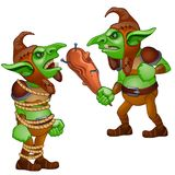 One troll with baton and the other tied with rope Royalty Free Stock Photo