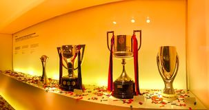 One of the trophy galleries at the FC Barcelona museum. BARCELONA, One of the trophy galleries at the FC Barcelona museum. Catalan League Championship Cup. Camp Stock Photos