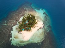 One tropical island. In caribbean sea above view Royalty Free Stock Photo