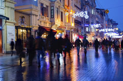 One of Turkey's most famous street Istiklal Street, Fuzzy View royalty free stock photos