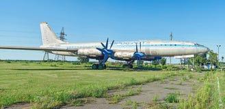 One of twelve old rare soviet aircraft TU-114 Stock Photo