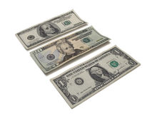 One Twenty Hundred. One twenty and hundred dollar bills shot at perspective on white background stock photos