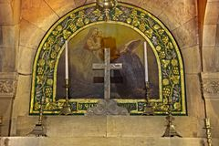 St. Helen Chapel - Church of the Holy Sepulchre. One of two altars in the 'Saint Helen' Chapel in the Church of the Holy Sepulchre; in the old city of Jerusalem Royalty Free Stock Photography