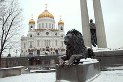 One of the two bronze lions, Royalty Free Stock Photo