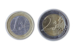 One and Two Euro Coin Stock Photos