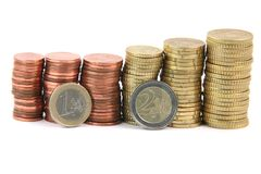 One and two euros Stock Images