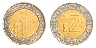 One & two mexican peso coins Royalty Free Stock Images
