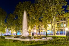 Fountain at Zrinjevac. One of two old fountain in park Zrinjevac in central Zagreb. Photo taken at night  in fall of 2017 Stock Images