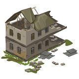 One two-storey destroyed building, vector isolated Royalty Free Stock Image