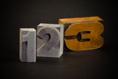 One, two , three. Numbers one, two and three in typescript letters royalty free stock images