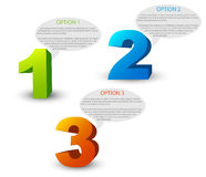 One two three - 3D vector progress icons Royalty Free Stock Images