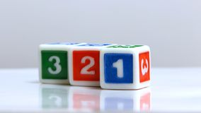 One two and three on blocks. Letters one two and three on blocks stock photo