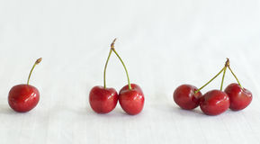 One, two, three cherries. Royalty Free Stock Image