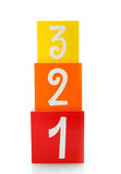 One, two, three colored blocks Stock Image