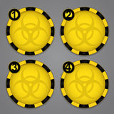 One, Two, Three, Four Bio hazard Circular Warning Stock Photo