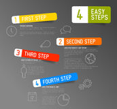 One two three four - 4 easy steps template. One two three four - vector paper progress steps for tutorial template Stock Photography