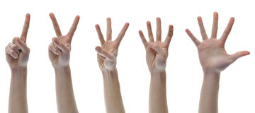 One Two Three Four Five Counting Finger Hands. Set group isolated on white background stock photos