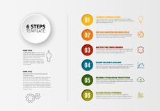 Vector progress six steps template Royalty Free Stock Photo