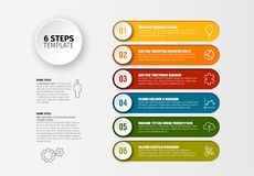 Vector progress six steps template. One two three four five six - vector progress steps template with descriptions and icons stock illustration