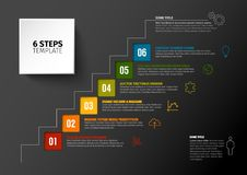 Vector progress six steps template. One two three four five six - vector squares progress steps template with descriptions and icons - dark version Stock Photo