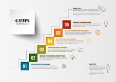 Vector progress six steps template. One two three four five six - vector squares progress steps template with descriptions and icons Stock Photography