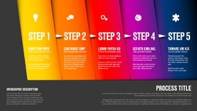 One two three four five. Vector progress block steps template with descriptions and icons on diagonal blocks stock illustration