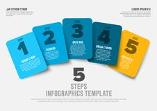 Vector progress five steps template. One two three four five - vector progress steps template with descriptions, blue and yellow version Royalty Free Stock Photography