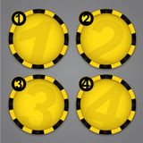 One, Two, Three, Four progress Warning labels Royalty Free Stock Images