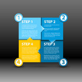 One two three four - vector paper progress steps. For tutorial - blue and yellow version royalty free illustration