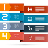 One, Two, Three, Four, Vector Paper Progress Steps Royalty Free Stock Photos