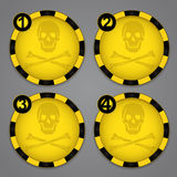 One, Two, Three, Four Warning Circular Label Stock Image