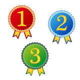 One two three place winner badges. Vector advertising one two three place winner badges Stock Photos
