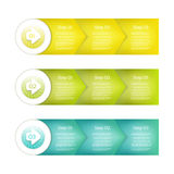 One two three - Set of three version - vector paper progress steps for tutorial Royalty Free Stock Photo