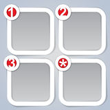 One, Two, Three and Star, square progress labels i. Great set of four progress labels marked with the One, Two, Three and Star in vectors vector illustration