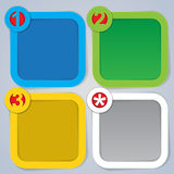 One, Two, Three and Star, Square Progress Labels i Royalty Free Stock Images