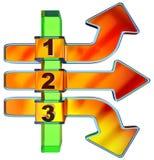 One two three - symbol progress for three steps Royalty Free Stock Photo