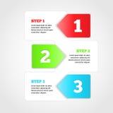 One two three - vector progress steps. stock illustration