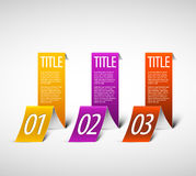 One two three - white vector paper options Royalty Free Stock Image