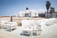 Typical guesthouse on Antiparos, Greece. One of the typical guesthouses with bar and restaurant in Antiparos, one of the Cyclade islands in Greece royalty free stock images
