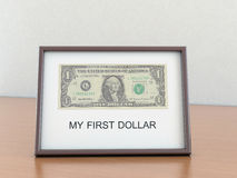 One U.S. dollar in the a frame with the inscriptio Royalty Free Stock Photos