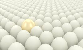One unusual thing among many ordinary. One unusual egg among many ordinary eggs Stock Photo