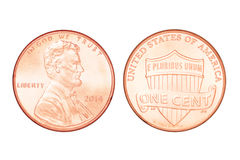 One US cent isolated. Both sides of one US cent year 2014. Isolated on white background with clipping path Royalty Free Stock Image