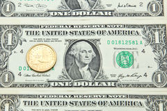 One US dollar banknotes and coin Royalty Free Stock Photos