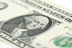 One US dollar bill. Close-up of a one US dollar banknote Stock Photography