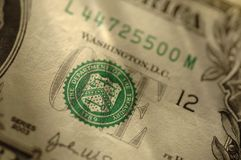 One US Dollar Bill Seal Royalty Free Stock Photography