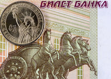One US dollar and one hundred rubles Royalty Free Stock Images