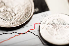 One US dollar and one Russian rouble on chart Stock Photography