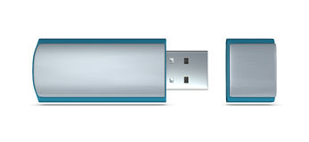 One usb key. One 3d usb key with blank space for general purpose vector illustration